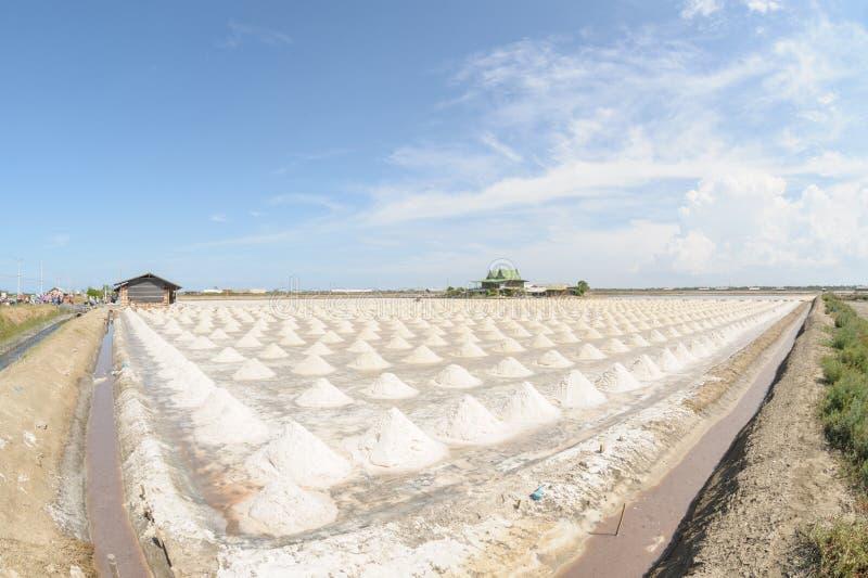 Hoop van overzees zout in zout landbouwbedrijf klaar voor oogst, Thailand stock foto's