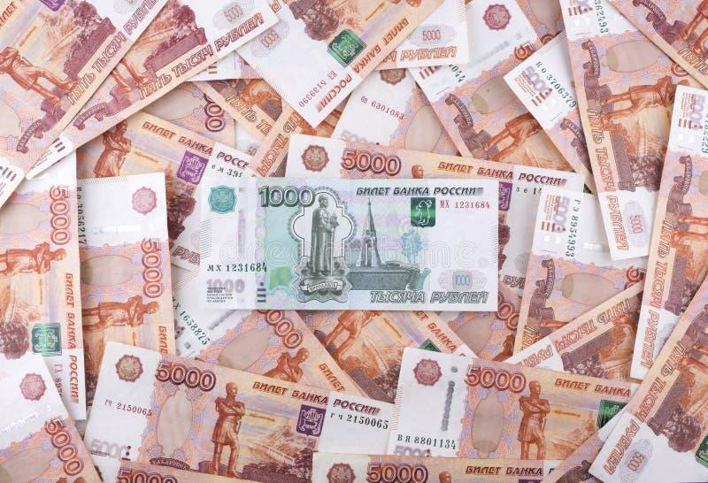 Hoop van Russische roebelsbankbiljetten royalty-vrije stock foto's