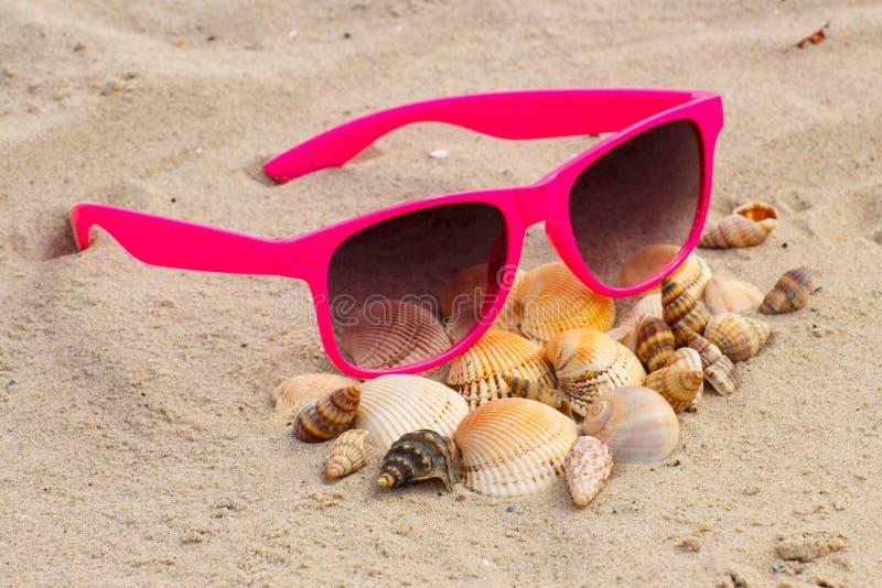 Hoop van shells en roze zonnebril op zand bij het strand stock foto's