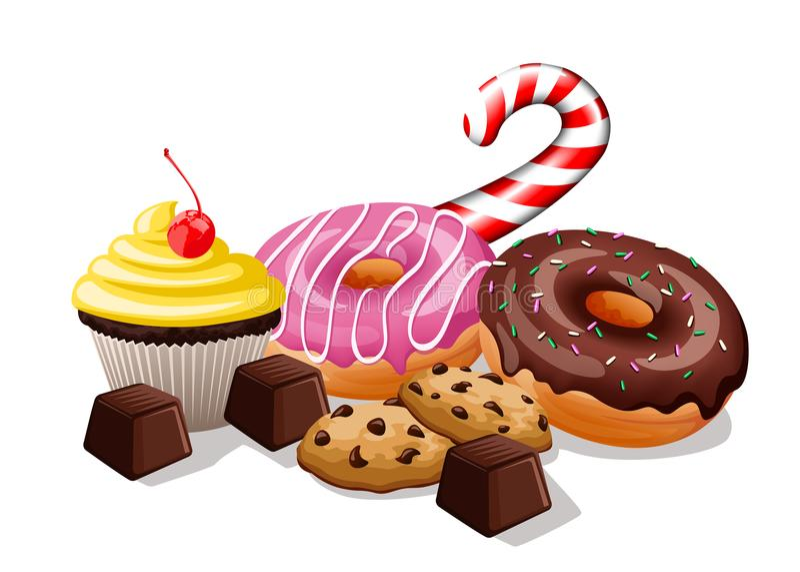 Hoop van snoepjes stock illustratie