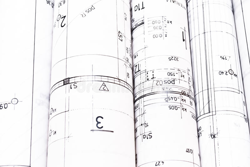 Hoop van van het architectenontwerp en project tekeningen stock foto