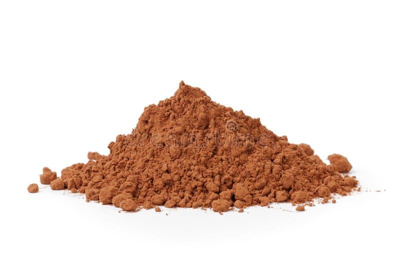 Hoop van vers cacaopoeder stock fotografie