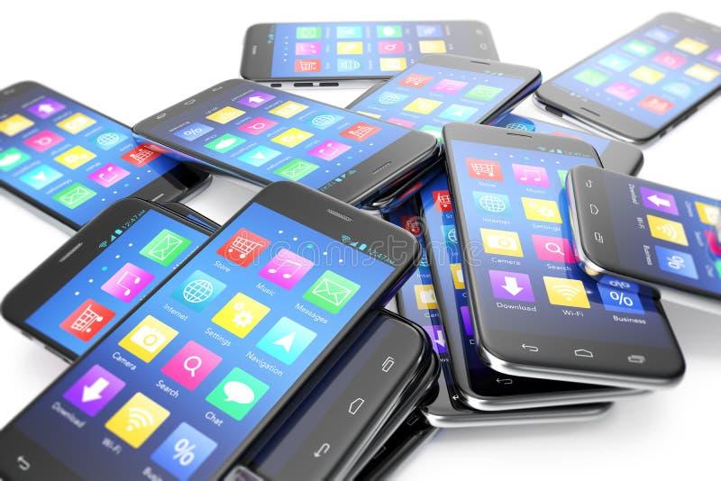Hoop van verschillende smartphones met toepassing op het scherm De moderne achtergrond van het technologieconcept, 3d illustratie vector illustratie