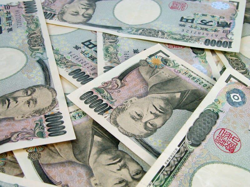 Hoop van yensrekeningen stock afbeeldingen