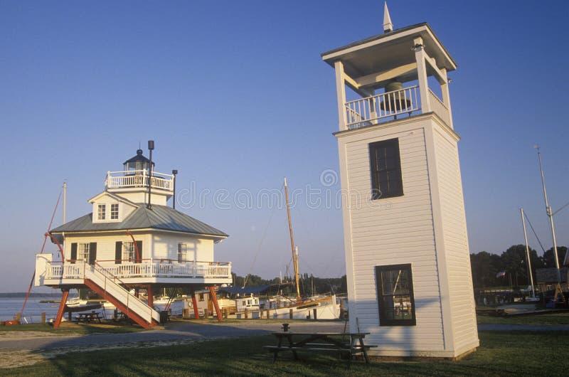 Hooper Strait Lighthouse lampa på Hooper Strait i det Tangier ljudet, maritimt museum för Chesapeakefjärd i St Michaels, medicine arkivbild