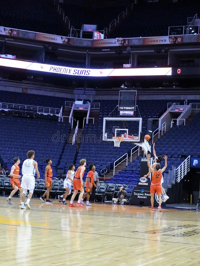 2018 Hoopin` It Up at the Arena at Talking Stick Resort Arena. Chaparral Firebirds vs. Sandra Day O`Connor Eagles during Hoopin` It Up at the Arena at Talking stock photos