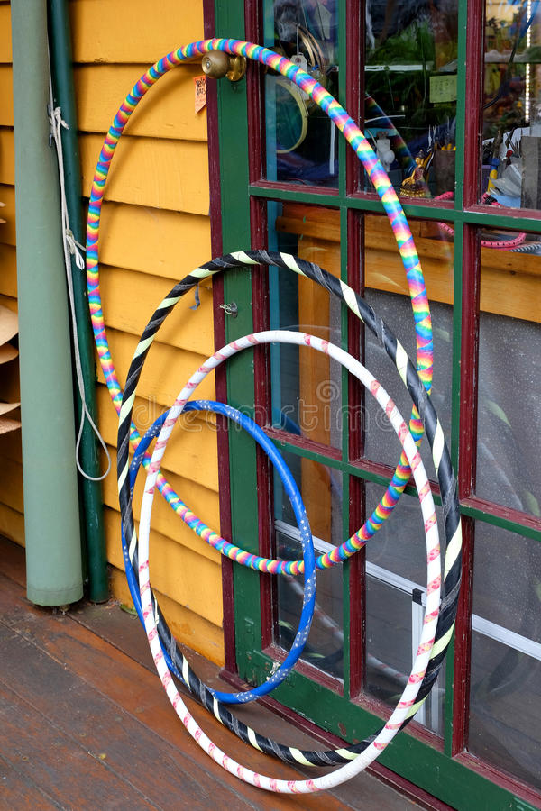 Hoops. Colourful hoops are sold outside a gift shop in a seaside town royalty free stock image