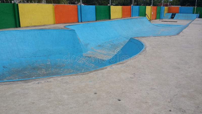 Hoops Dome Skate Park. This is the Hoops Dome Skate Park in Lapu-Lapu City on Mactan Island in Metro Cebu, Philippines. It is clearly in need of some restoration stock images