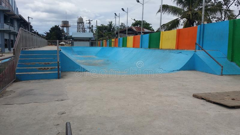 Hoops Dome Skate Park. This is the Hoops Dome Skate Park in Lapu-Lapu City on Mactan Island in Metro Cebu, Philippines. It is clearly in need of some restoration stock image