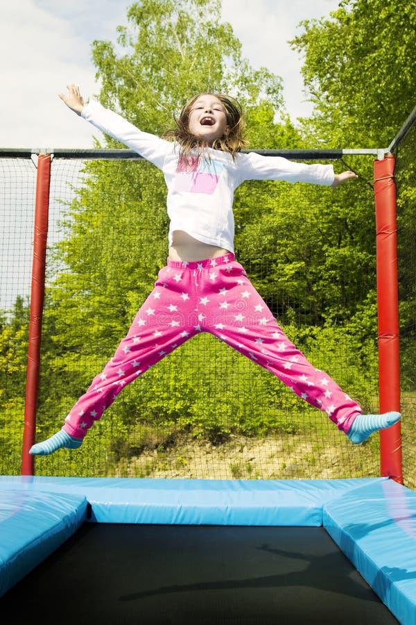 Hooray Trampoline dziewczyna Skacze obrazy stock