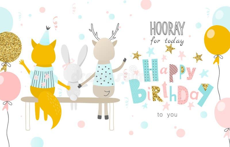 Hooray voor vandaag Gelukkige Verjaardag aan u Groetkaart met grappige Vos, hazen, herten en ballons banner, affiche stock illustratie