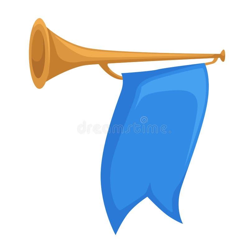 Hoorn of trompet met de attributenpijp geïsoleerd voorwerp van het vlag koninklijk koninkrijk vector illustratie