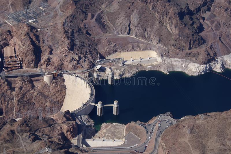 Hoover Dam - Aerial View of Dam and Bridge stock images