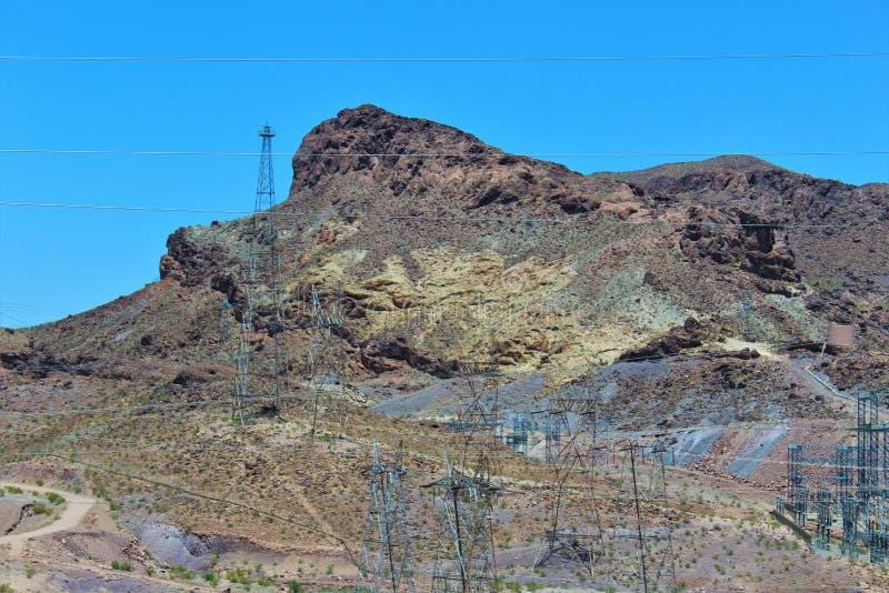 Hoover Dam, Bureau of Reclamation, Clark County, Nevada/Mohave County Arizona, United States. Scenic view of Hoover Dam, Bureau of Reclamation, located in Clark stock photos