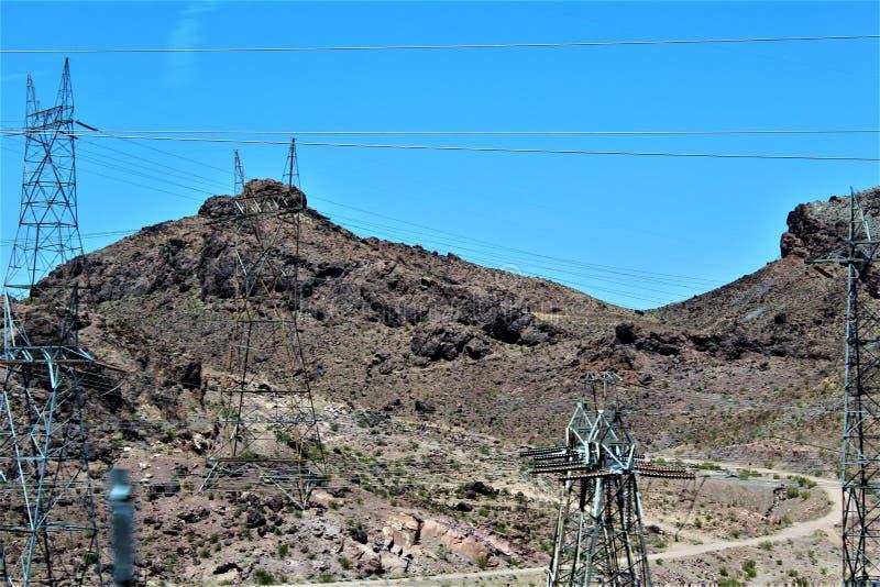 Hoover Dam, Bureau of Reclamation, Clark County, Nevada/Mohave County Arizona, United States. Scenic view of Hoover Dam, Bureau of Reclamation, located in Clark stock image