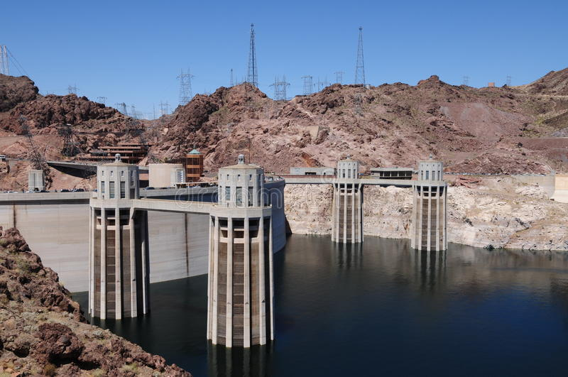 Download Hoover Dam Intake Towers stock image. Image of grid, river - 14319103