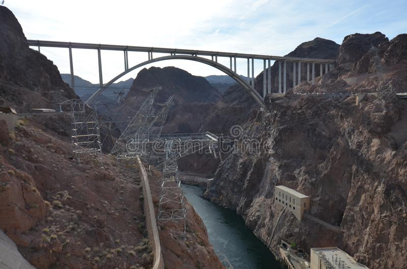 Hoover Dam, Mike O`Callaghan-Pat Tillman Memorial Bridge, geological phenomenon, bridge, nonbuilding structure, geology royalty free stock photography