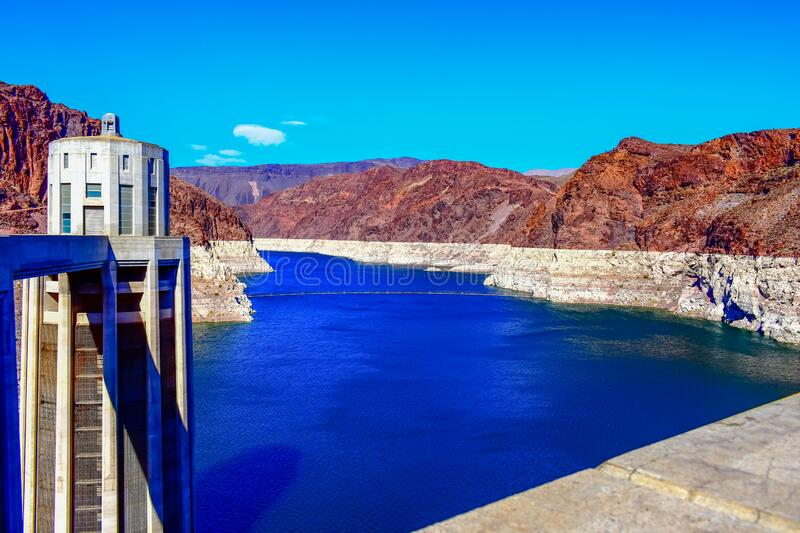 Hoover Dam in Nevada / Arizona. DescriptionHoover Dam is a concrete arch-gravity dam in the Black Canyon of the Colorado River, on the border between the U.S royalty free stock photo