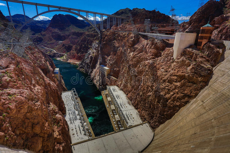 Hoover Dam, panoramic view. Power generators of electricity from Hoover Dam, panoramic view royalty free stock photo