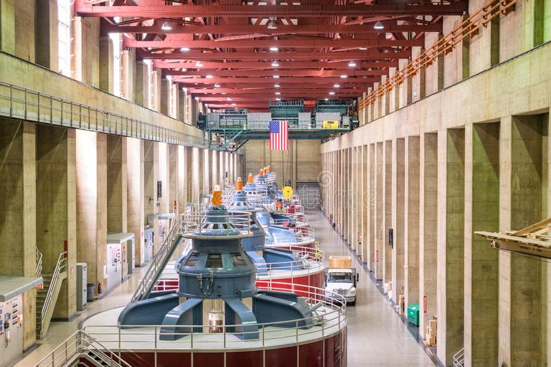 Hoover Dam Power Plant. HOOVER DAM, ARIZONA - MAY 12, 2019: Generators of the Hoover Dam Power Plant. The dam was opened in 1936 amidst the Great Depression stock image