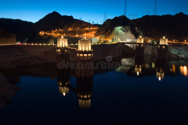 Hoover Dam with reflection stock images