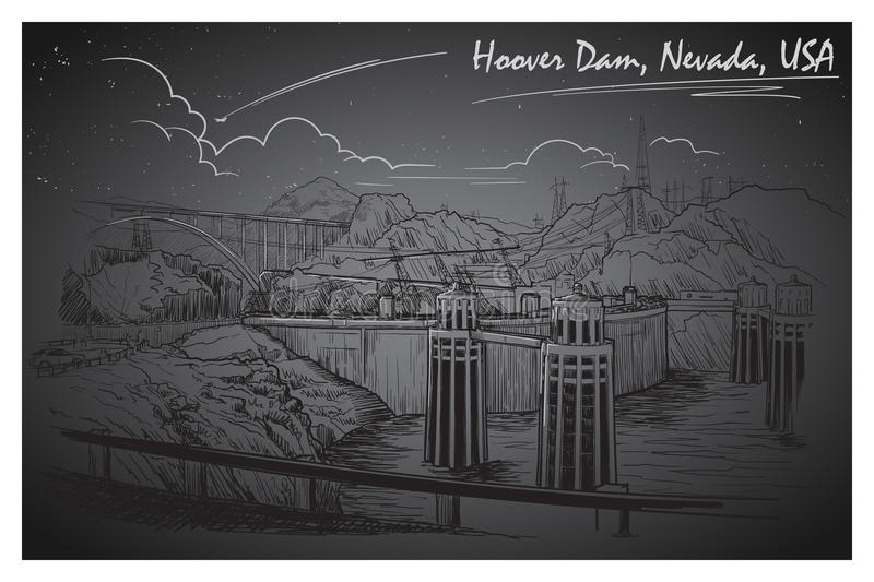 Hoover Dam stunning panoramic view. Black and white linear hand drawing. Sketch style. EPS10 vector illustration vector illustration