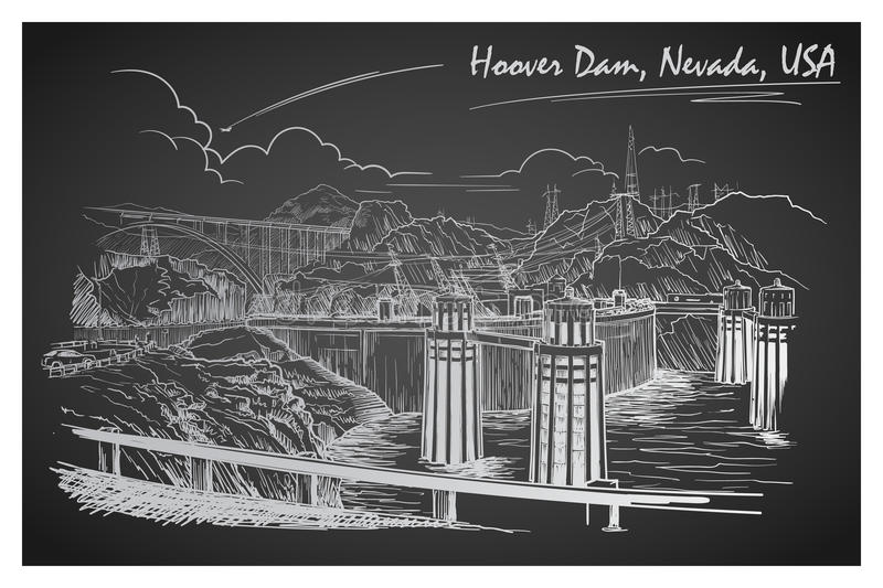 Hoover Dam stunning panoramic view. Black and white linear hand drawing. Sketch style. EPS10 vector illustration royalty free illustration