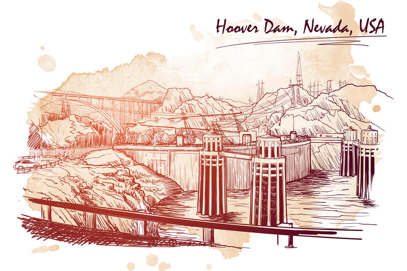 Hoover Dam stunning panoramic view. Linear hand drawing on a grunge spot ba. Sketch style. EPS10 vector illustration stock illustration