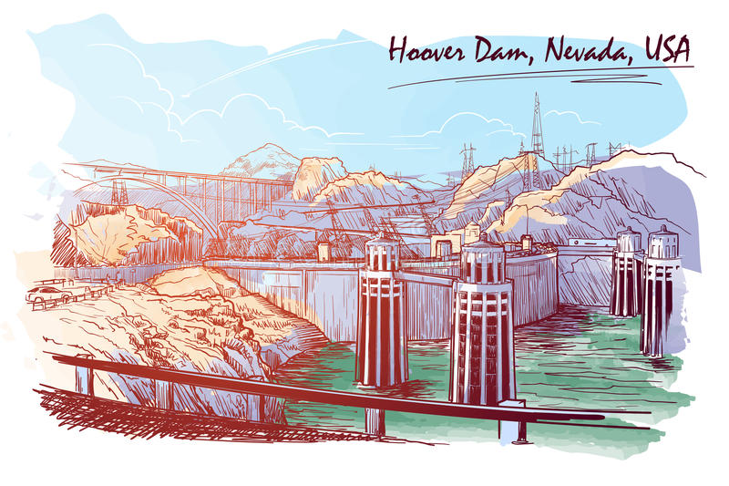 Hoover Dam stunning panoramic view Sketch drawn and painted digitally to give watercolour painting feel. EPS10 vector illustration vector illustration