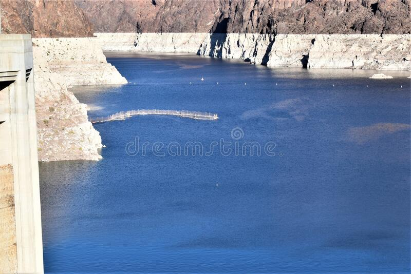 Blue water in between mountain barriers royalty free stock images