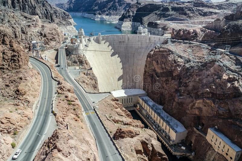 Hoover Dam in United States. Hydroelectric power station on the border of Arizona and Nevada royalty free stock photos