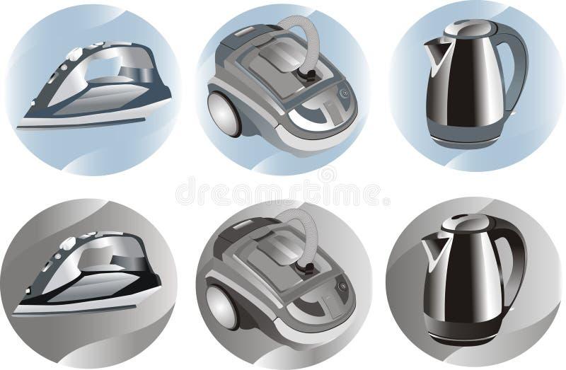 Hoover, flatiron, kettle. Household appliances on a round background stock illustration