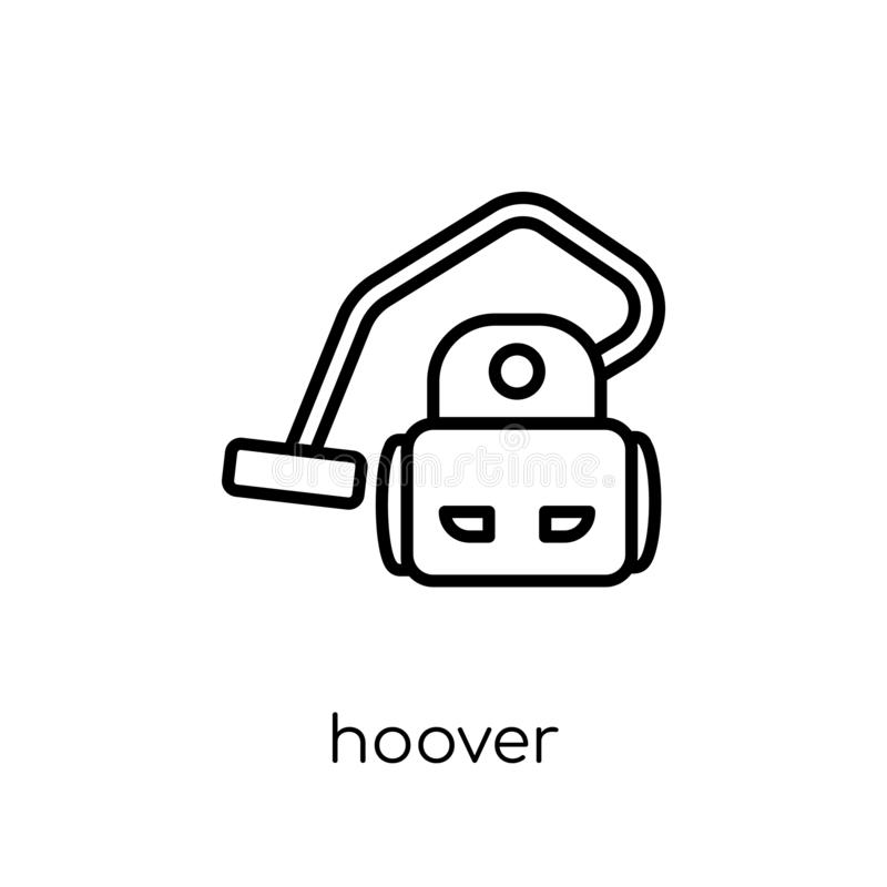 Hoover icon. Trendy modern flat linear vector hoover icon on white background from thin line Cleaning collection. Editable outline stroke vector illustration stock illustration