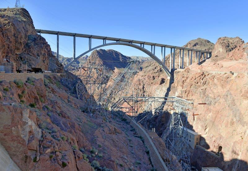 Hooverdam, een massief hydro-elektrisch techniekoriëntatiepunt dat op de grens van Nevada en van Arizona wordt gevestigd royalty-vrije stock fotografie