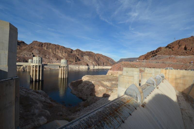 Hooverdam, hemel, dam, water, reservoir royalty-vrije stock fotografie