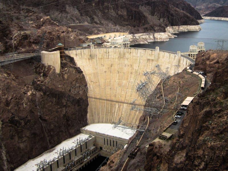 Hooverdam op Meer Mead Las Vegas, Nevada wordt voortgebouwd dat stock foto