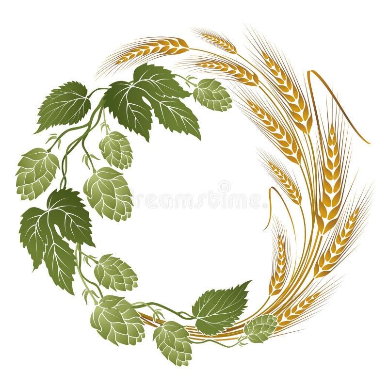 Hop en tarwesamenstelling voor bieretiket vector illustratie