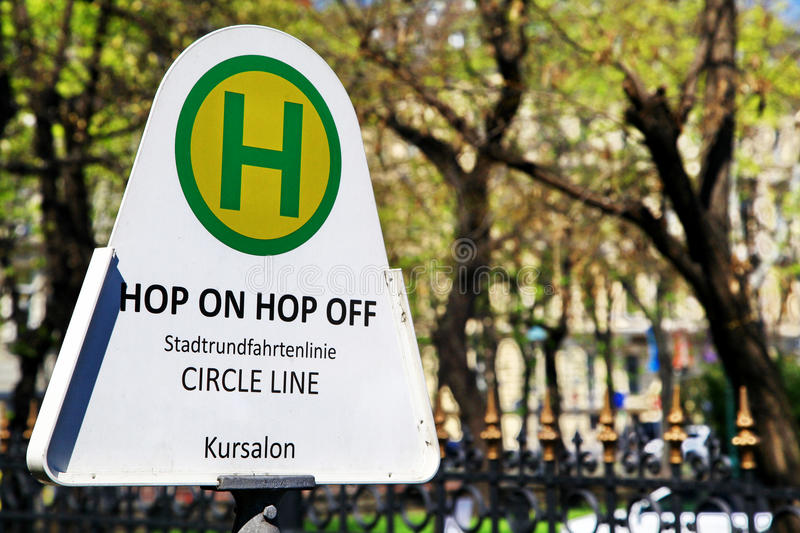 Hop on - Hop off bus station in Vienna royalty free stock image