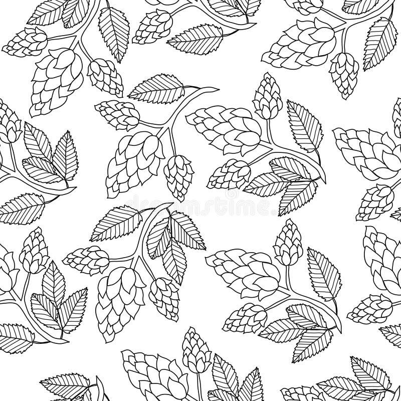 Hop naadloos patroon, handtekening, krabbelstijl Overzicht die textuur, eindeloze achtergrond herhalen Brouwend concept vector illustratie
