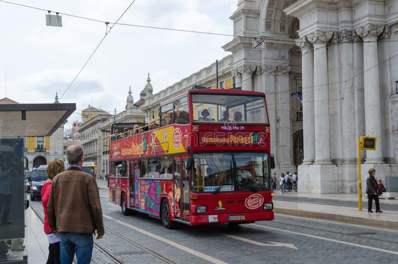 Hop op Hop van bus in Lissabon royalty-vrije stock foto's