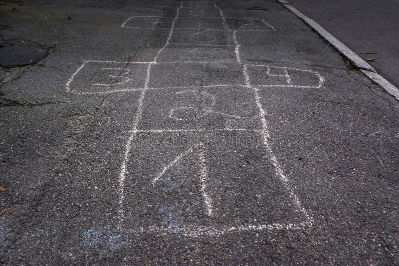 Hop Scotch Board Chalk Numbers One Fade Out Detail Children Game royalty free stock image