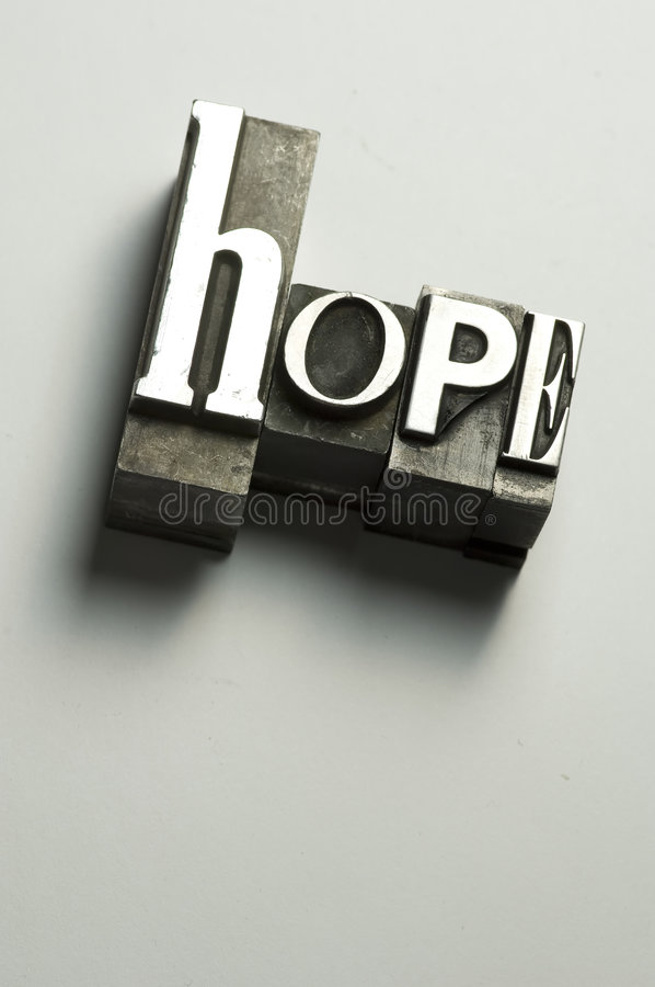 Hope. The word Hope photographed using old letterpress type. Cross-processed for a antique look. See my member portfolio for more vintage letterpress images