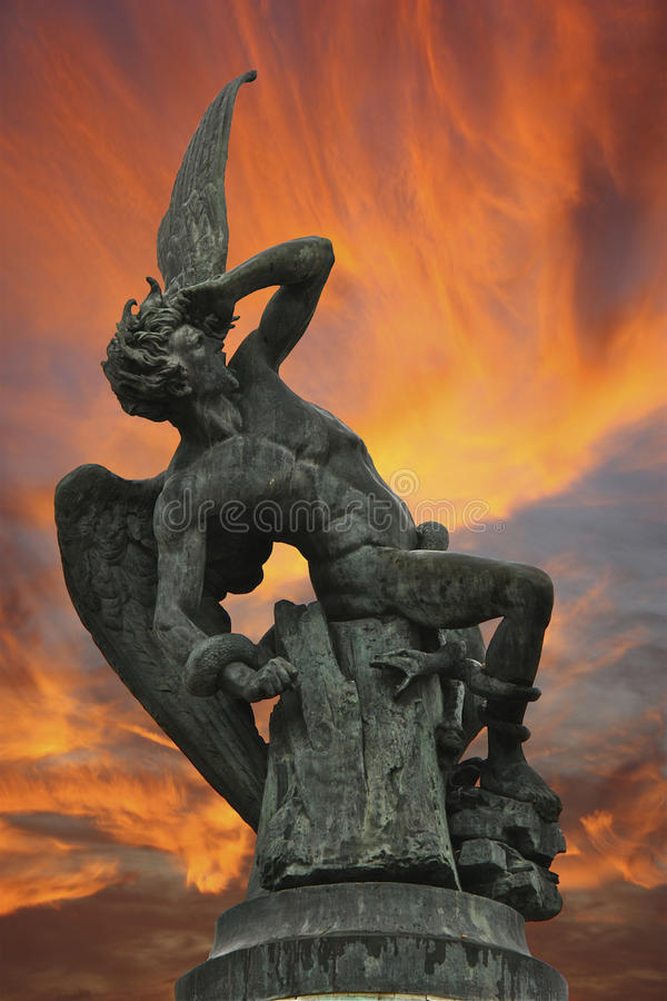 Statue of the fallen Angel of Madrid stock photos