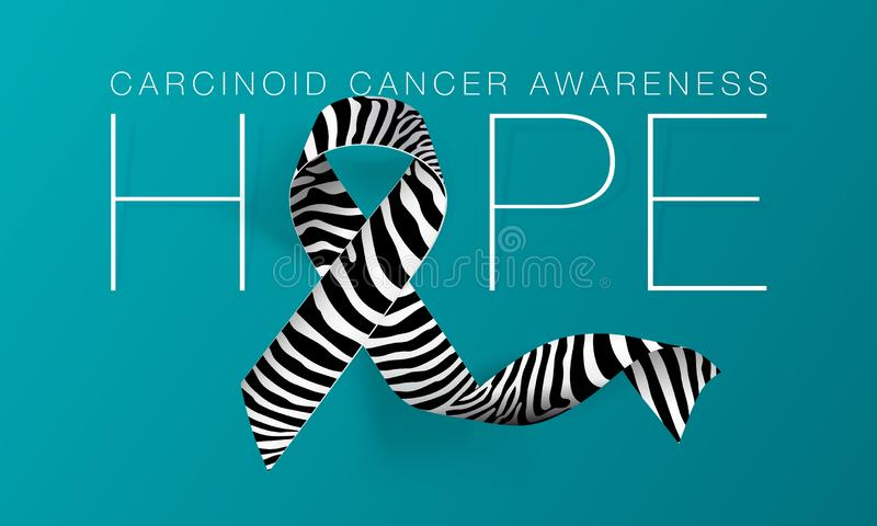 Hope. Carcinoid Cancer Awareness Calligraphy Poster Design. Realistic Zebra Stripe Ribbon. November is Cancer Awareness vector illustration