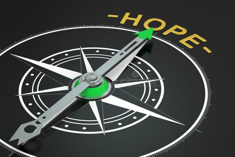 Hope compass concept, 3D stock illustration