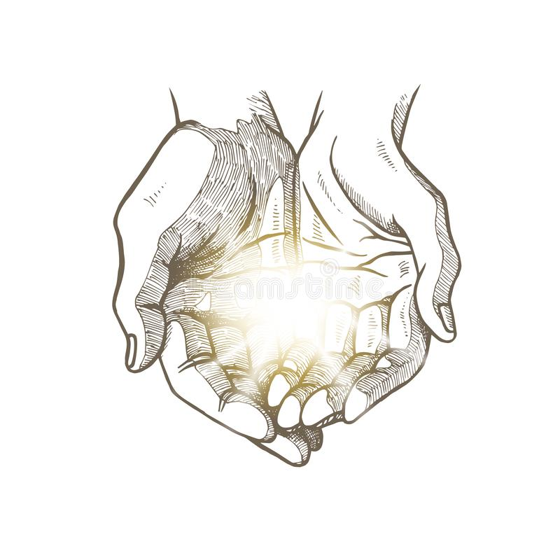 Hope concept. Hand drawn open palms with luminous ball. Black and white vintage hands. Vector sketch. Hope concept. Hand drawn open palms with luminous ball royalty free illustration