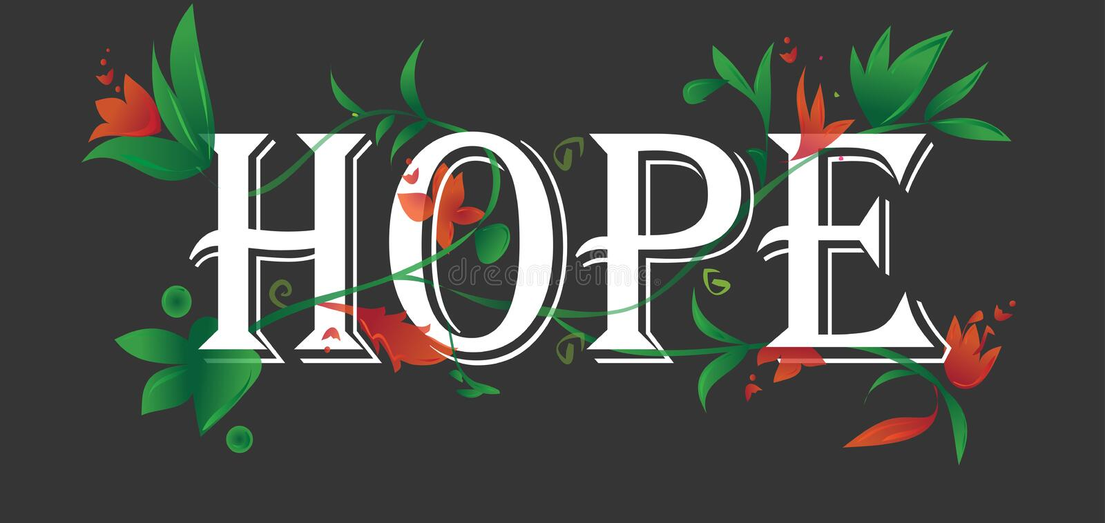 Hope concept text floral blossoms isolated black background vector illustration