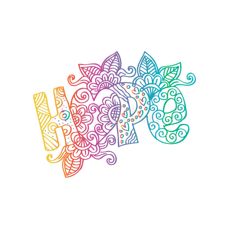 Hope decorative lettering. vector illustration