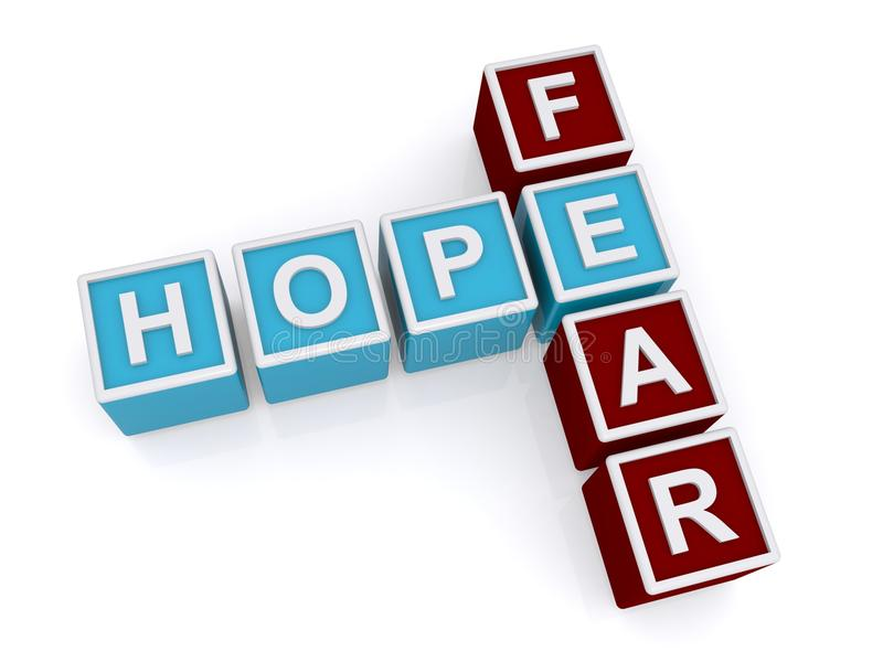 Hope, fear. Hope and fear spelled crossword style using blocks on white background stock illustration
