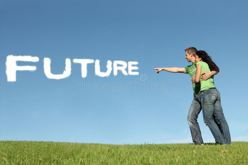 Hope for future. Young couple looking in hope to future growth stock images